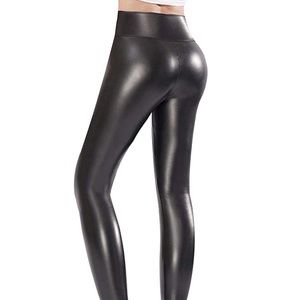 Ginasy Black Faux Leather Leggings High Waisted